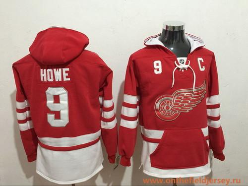 Men's Detroit Red Wings #9 Gordie Howe NEW Red Pocket Stitched NHL Old Time Hockey Hoodie