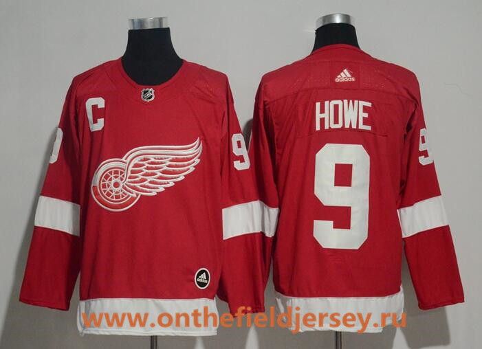 Men's Detroit Red Wings #9 Gordie Howe Red Home 2017-2018 adidas Hockey Stitched NHL Jersey