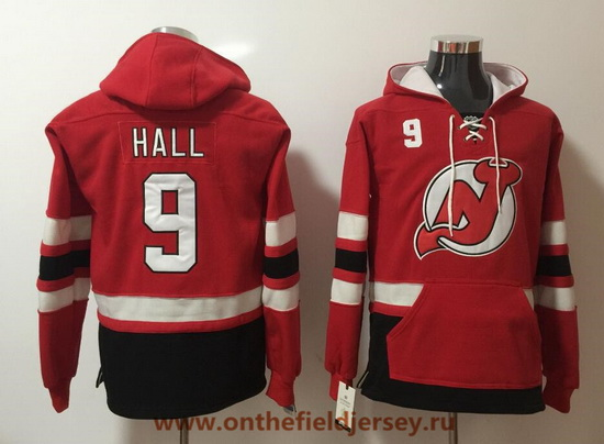 Men's New Jersey Devils #9 Taylor Hall Red Pocket Stitched NHL Old Time Hockey Pullover Hoodie