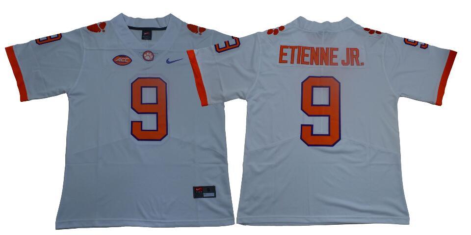 Men's Clemson Tigers #9 Travis Etienne Jr. Nike White NCAA College Football Jersey