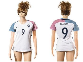 2016 European Cup France Away #9 Giroud White Women's Soccer A+ Shirt