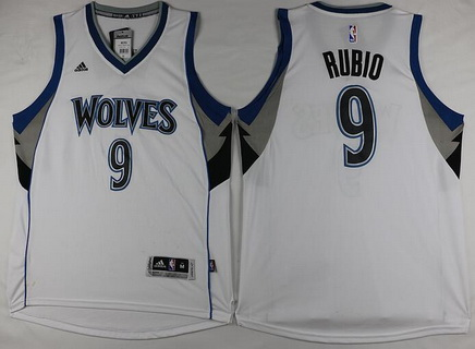 Men's Minnesota Timberwolves #9 Ricky Rubio Revolution 30 Swingman New White Jersey