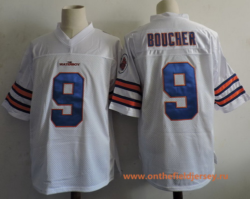 Men's The Movie The Waterboy Adam Sandler #9 Bobby Boucher White Stitched Football Jersey
