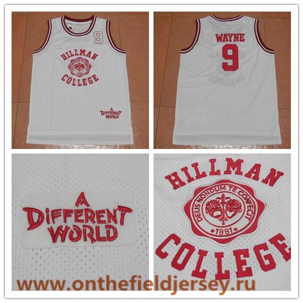 Men's Hillman College #9 Dwayne Wayne Swingman Stitched Basketball Jersey The Movie List of A Different World Jerseys