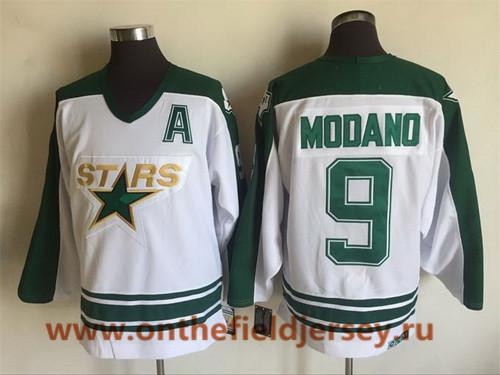Men's Dallas Stars #9 Mike Modano 1993 White CCM Throwback Stitched Vintage Hockey Jersey