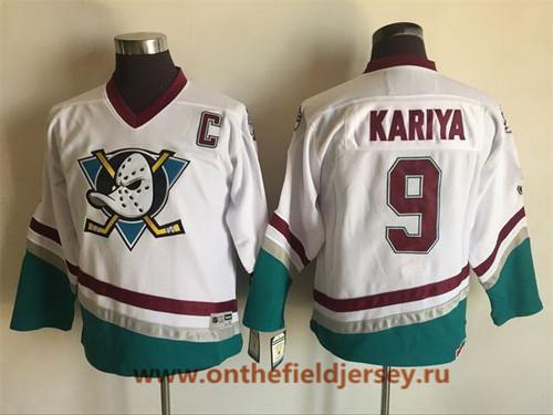 Youth Mighty Ducks of Anaheim #9 Paul Kariya 1995-96 White CCM Throwback Stitched Vintage Hockey Jersey