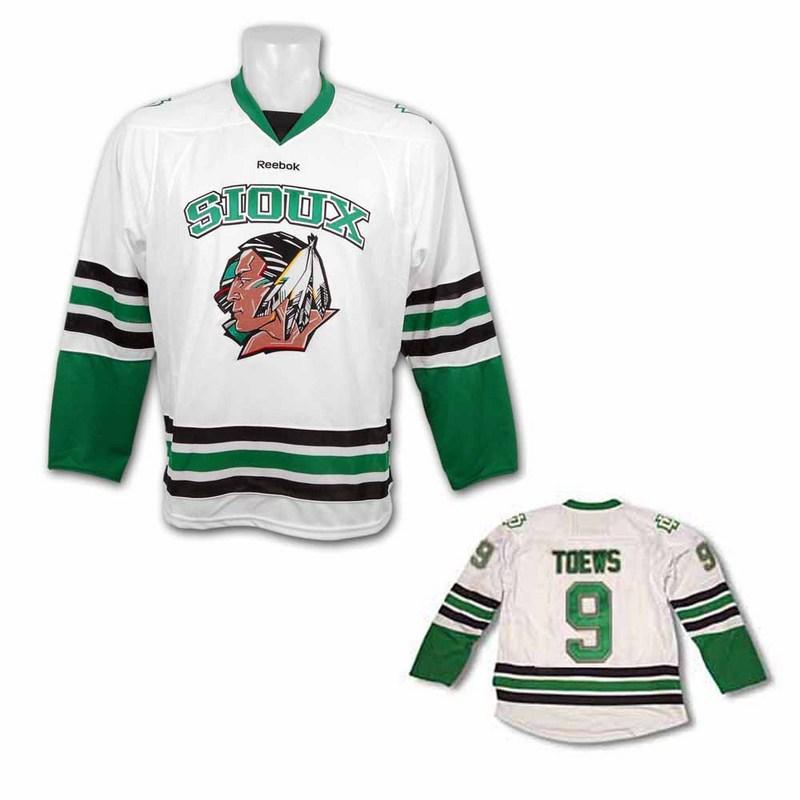 Men's North Dakota Fighting Sioux #9 Jonathan Toews White Stitched College Ice Hockey Jersey
