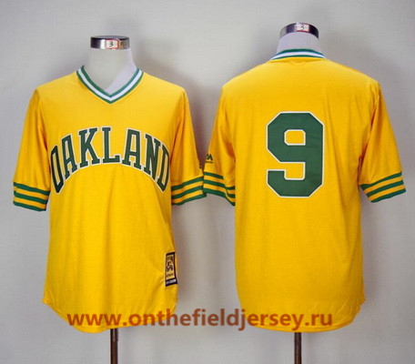 Men's Oakland Athletics #9 Reggie Jackson Yellow Pullover 1981 Throwback Cooperstown Collection Stitched MLB Mitchell & Ness Jersey