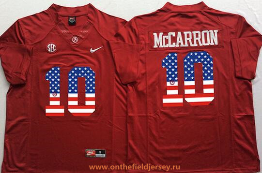 Men's Alabama Crimson Tide #10 AJ McCarron Red USA Flag Fashion Stitched Nike NCAA Jersey