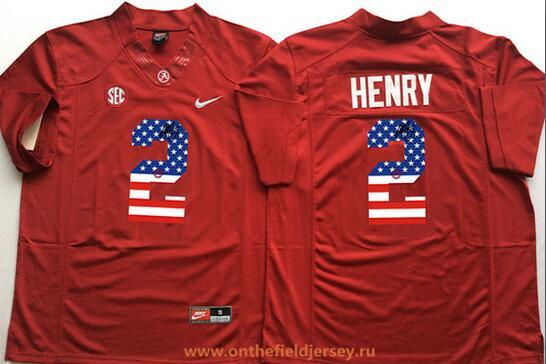 Men's Alabama Crimson Tide #2 Derrick Henry Red USA Flag Fashion Stitched Nike NCAA Jersey