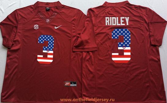 Men's Alabama Crimson Tide #3 Calvin Ridley Red USA Flag Fashion Stitched Nike NCAA Jersey