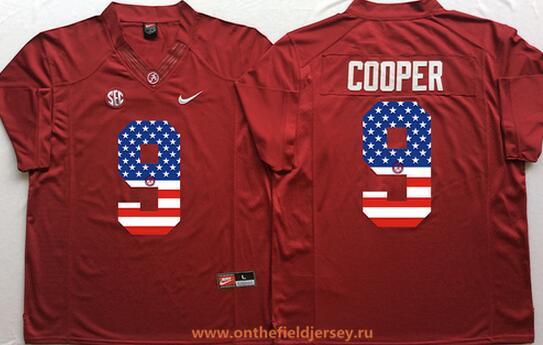 Men's Alabama Crimson Tide #9 Amari Cooper Red USA Flag Fashion Stitched Nike NCAA Jersey