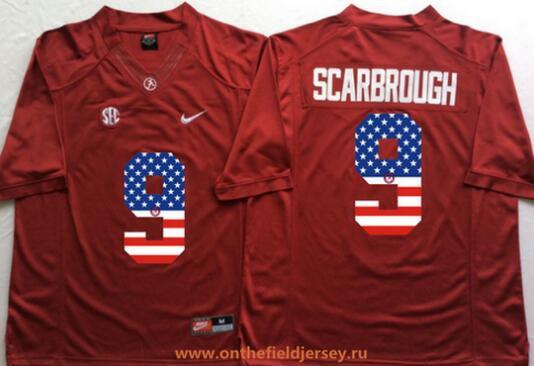 Men's Alabama Crimson Tide #9 Bo Scarbrough Red USA Flag Fashion Stitched Nike NCAA Jersey