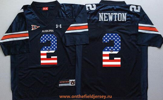 Men's Auburn Tigers Blue #2 Cam Newton Navy Blue USA Flag Fashion Stitched Under Armour NCAA Jersey