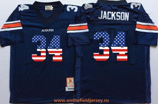 Men's Auburn Tigers Blue #34 Bo Jackson Navy Blue USA Flag Fashion Stitched Under Armour NCAA Jersey