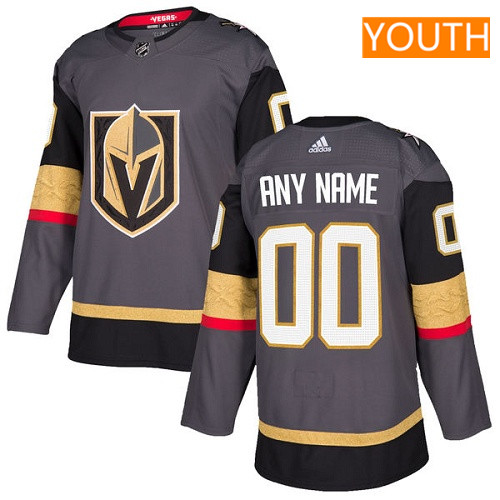 Youth Vegas Golden Knights Custom Gray Home Stitched Adidas NHL Jersey