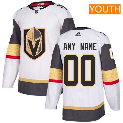 Youth Vegas Golden Knights Custom White Away Stitched Adidas NHL Jersey