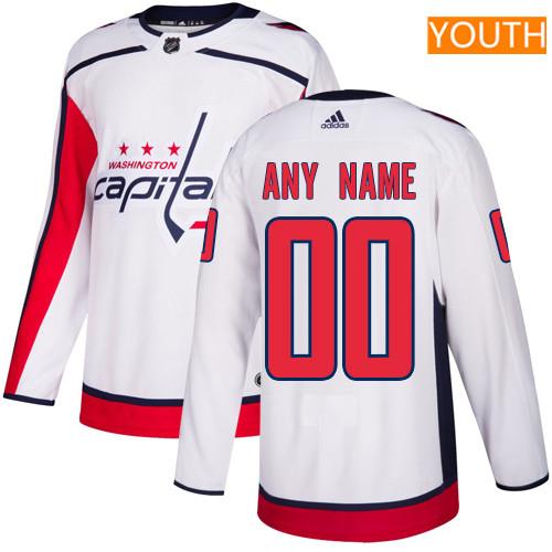 Youth Washington Capitals Custom White Away Stitched Adidas NHL Jersey