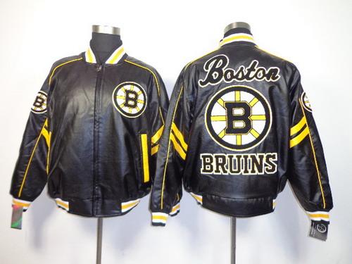 Men's Boston Bruins Blank Black Leather Coat