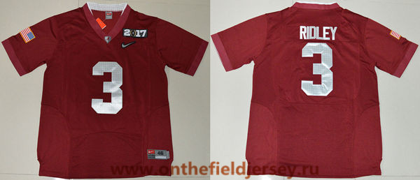 Men's Alabama Crimson Tide #3 Calvin Ridley Red 2017 Championship Game Patch Stitched CFP Nike Limited Jersey