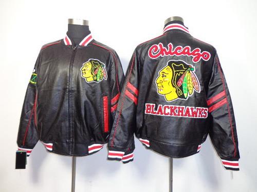 Men's Chicago Blackhawks Blank Black Leather Coat