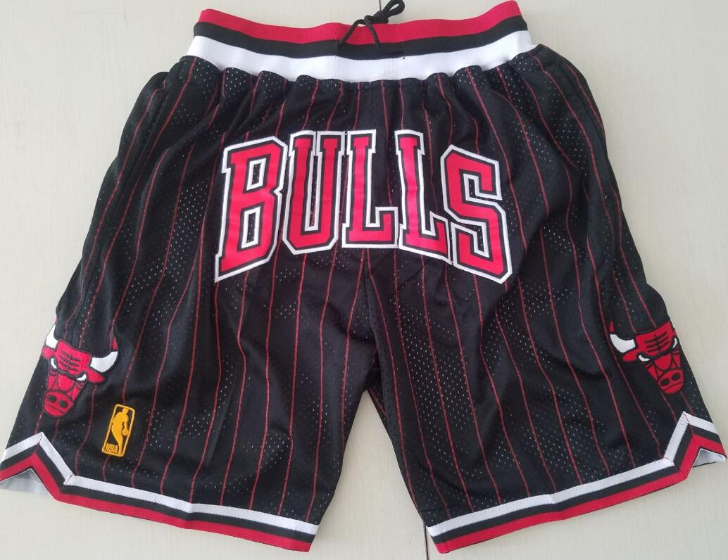 Chicago Bulls Black with Pinstripe JUST DON Shorts