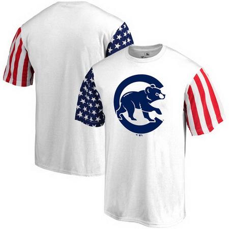 Chicago Cubs Fanatics Branded Stars & Stripes T-Shirt - White_26