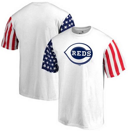 Cincinnati Reds Fanatics Branded Stars & Stripes T-Shirt - White