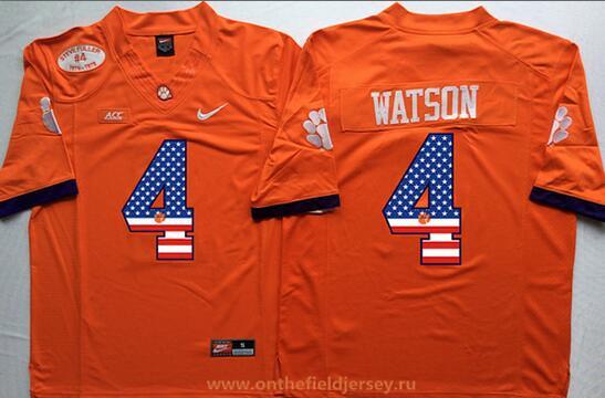 Men's Clemson Tigers #4 Deshaun Watson Orange USA Flag Fashion Stitched Nike NCAA Jersey