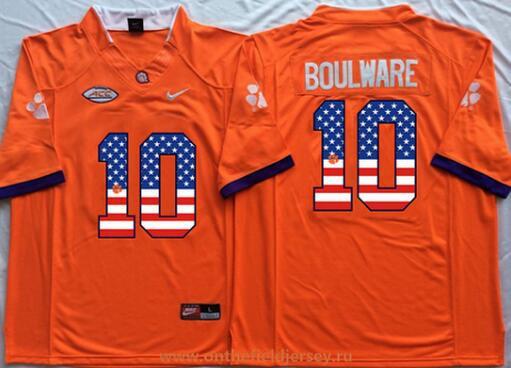 Men's Clemson Tigers #10 Ben Boulware Orange USA Flag Fashion Stitched Nike NCAA Jersey