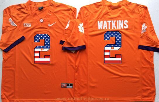 Men's Clemson Tigers #2 Sammy Watkins Orange USA Flag Fashion Stitched Nike NCAA Jersey