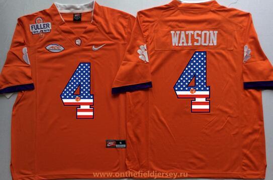 Men's Clemson Tigers #4 Deshaun Watson Orange Fuller Patch USA Flag Fashion Stitched Nike NCAA Jersey