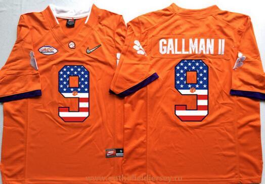 Men's Clemson Tigers #9 Wayne Gallman Orange USA Flag Fashion Stitched Nike NCAA Jersey