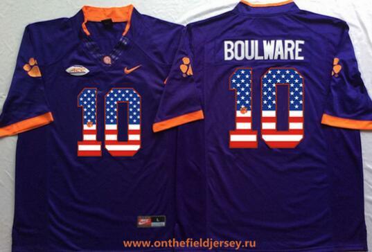 Men's Clemson Tigers #10 Ben Boulware Purple USA Flag Fashion Stitched Nike NCAA Jersey