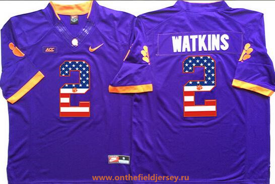 Men's Clemson Tigers #2 Sammy Watkins Purple USA Flag Fashion Stitched Nike NCAA Jersey