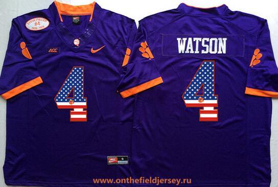 Men's Clemson Tigers #4 Deshaun Watson Purple USA Flag Fashion Stitched Nike NCAA Jersey