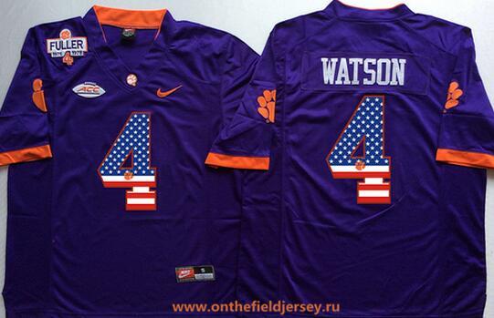 Men's Clemson Tigers #4 Deshaun Watson Purple Fuller Patch USA Flag Fashion Stitched Nike NCAA Jersey