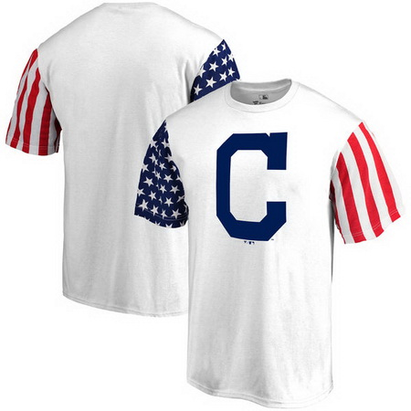 Cleveland Indians Fanatics Branded Stars & Stripes T-Shirt - White