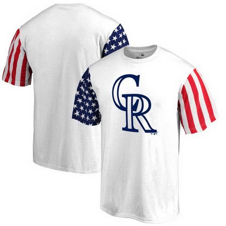 Colorado Rockies Fanatics Branded Stars & Stripes T-Shirt - White
