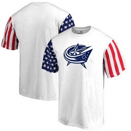 Columbus Blue Jackets Fanatics Branded Stars & Stripes T-Shirt - White