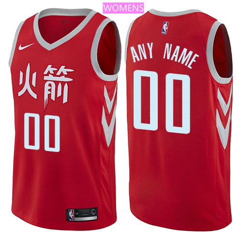 Custom Houston Rockets Red Nike NBA Women's Stitched Swingman Jersey 2017-2018 City Edition