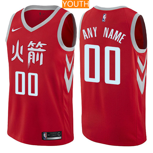 Custom Houston Rockets Red Nike NBA Youth Stitched Swingman Jersey 2017-2018 City Edition