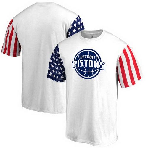 Detroit Pistons Fanatics Branded Stars & Stripes T-Shirt - White