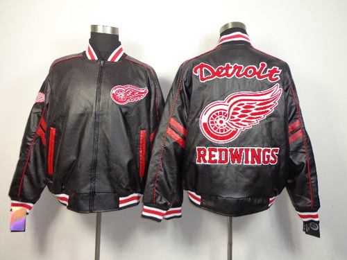 vDetroit Red Wings Blank Black Leather Coat