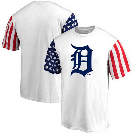 Detroit Tigers Fanatics Branded Stars & Stripes T-Shirt - White