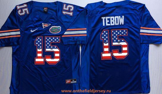 Men's Florida Gators #15 Tim Tebow Royal Blue USA Flag Fashion Stitched Nike NCAA Jersey