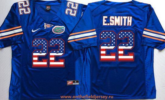 Men's Florida Gators #22 Emmitt Smith Royal Blue USA Flag Fashion Stitched Nike NCAA Jersey