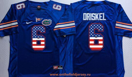 Men's Florida Gators #6 Jeff Driskel Royal Blue USA Flag Fashion Stitched Nike NCAA Jersey