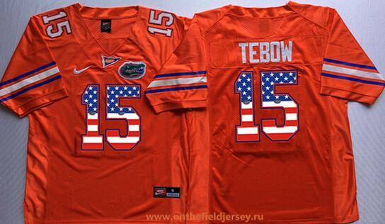 Men's Florida Gators #15 Tim Tebow Orange USA Flag Fashion Stitched Nike NCAA Jersey