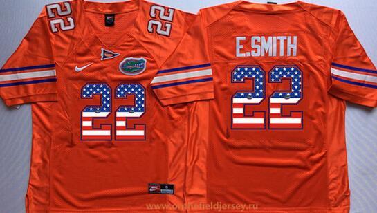Men's Florida Gators #22 Emmitt Smith Orange USA Flag Fashion Stitched Nike NCAA Jersey
